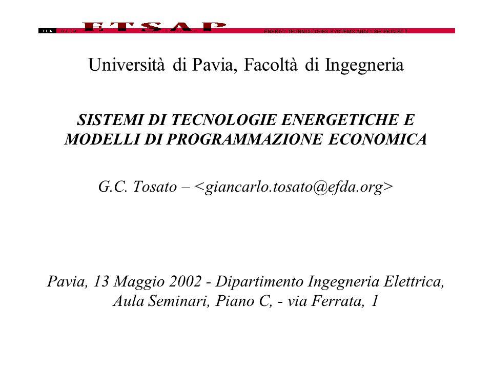 Università di Pavia, Facoltà di Ingegneria SISTEMI DI TECNOLOGIE ENERGETICHE E MODELLI DI PROGRAMMAZIONE ECONOMICA G.C.