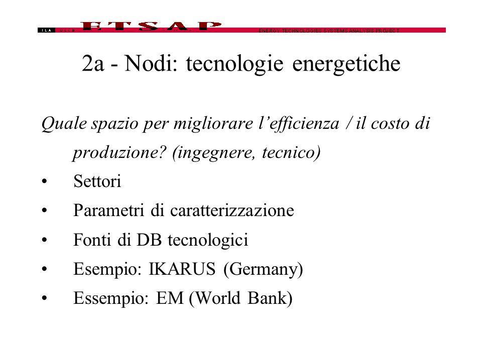 2a - Nodi: tecnologie energetiche Quale spazio per migliorare l'efficienza / il costo di produzione.