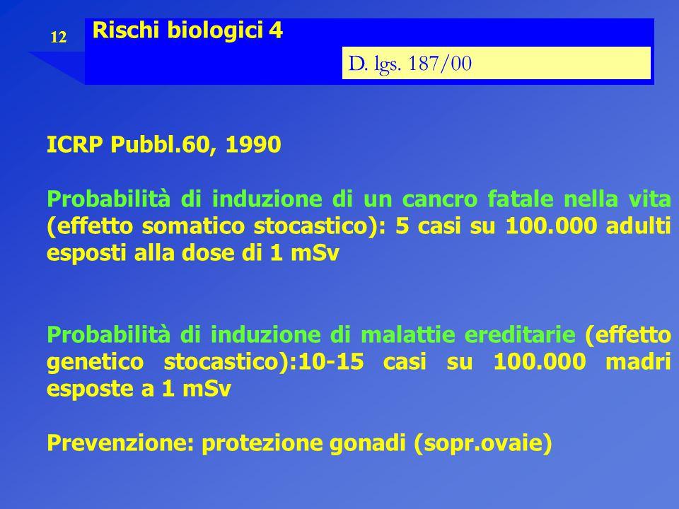 12 Rischi biologici 4 D. lgs. 187/00 ICRP Pubbl.60, 1990 Probabilità di induzione di un cancro fatale nella vita (effetto somatico stocastico): 5 casi