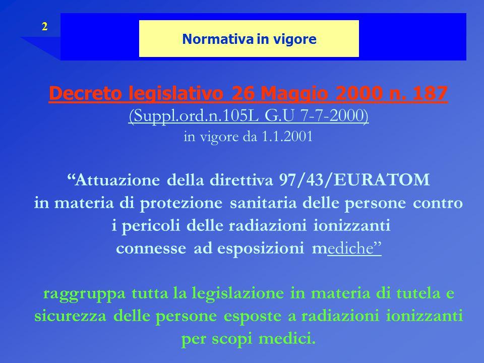 """2 Normativa in vigore Decreto legislativo 26 Maggio 2000 n. 187 (Suppl.ord.n.105L G.U 7-7-2000) in vigore da 1.1.2001 """"Attuazione della direttiva 97/4"""