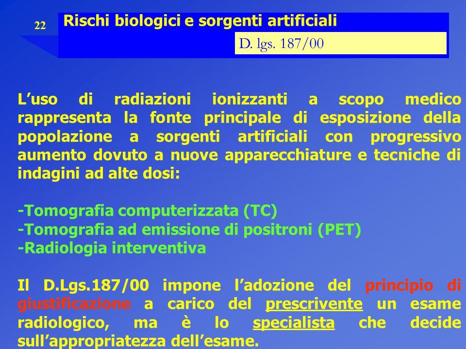 22 Rischi biologici e sorgenti artificiali D. lgs. 187/00 L'uso di radiazioni ionizzanti a scopo medico rappresenta la fonte principale di esposizione