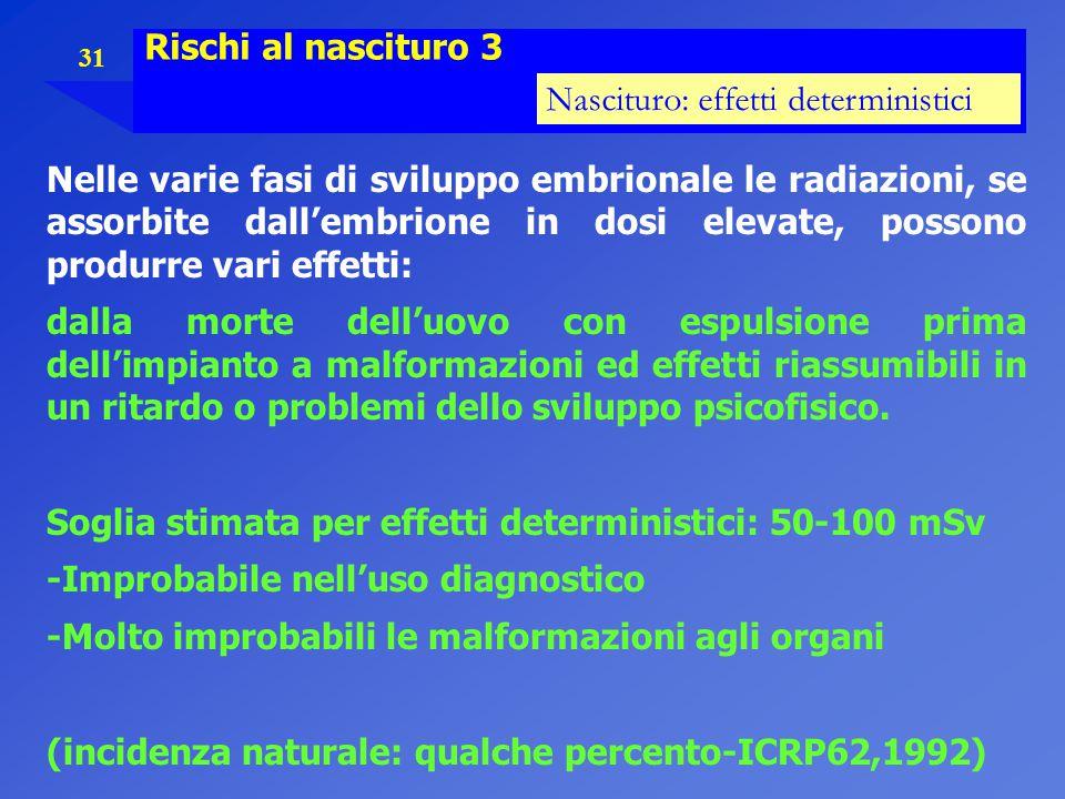 31 Rischi al nascituro 3 Nascituro: effetti deterministici Nelle varie fasi di sviluppo embrionale le radiazioni, se assorbite dall'embrione in dosi e