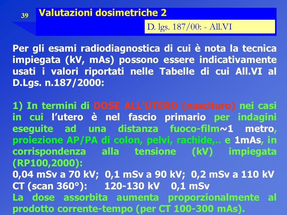 39 Valutazioni dosimetriche 2 D. lgs. 187/00: - All.VI Per gli esami radiodiagnostica di cui è nota la tecnica impiegata (kV, mAs) possono essere indi