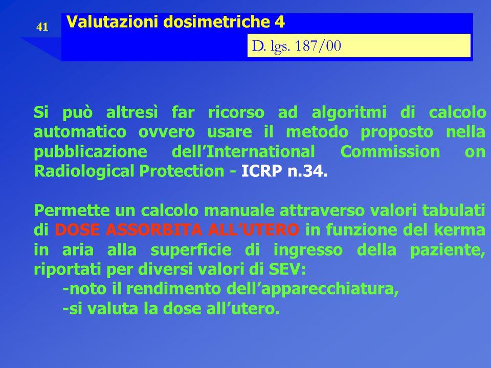 41 Valutazioni dosimetriche 4 D. lgs. 187/00 Si può altresì far ricorso ad algoritmi di calcolo automatico ovvero usare il metodo proposto nella pubbl