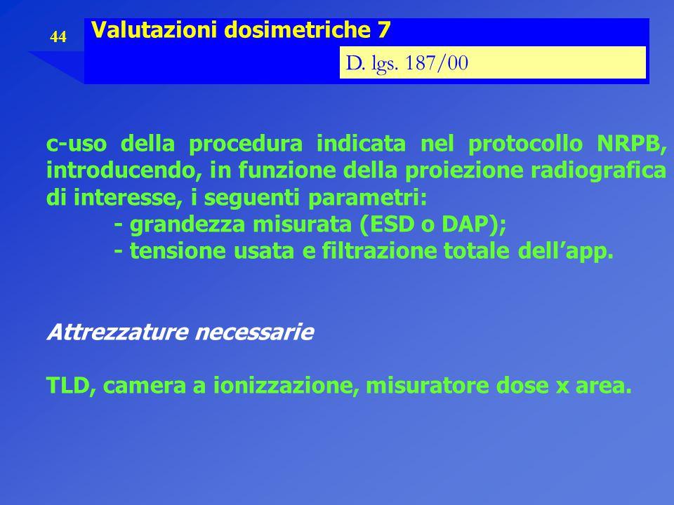 44 Valutazioni dosimetriche 7 D. lgs. 187/00 c-uso della procedura indicata nel protocollo NRPB, introducendo, in funzione della proiezione radiografi