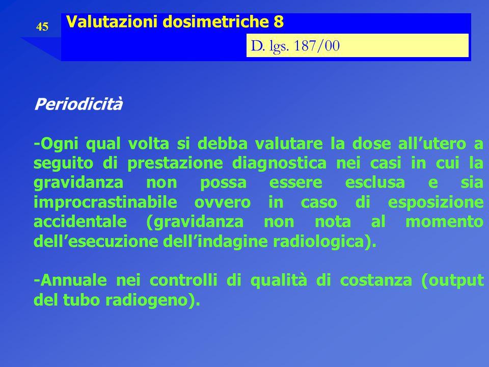 45 Valutazioni dosimetriche 8 D. lgs. 187/00 Periodicità -Ogni qual volta si debba valutare la dose all'utero a seguito di prestazione diagnostica nei