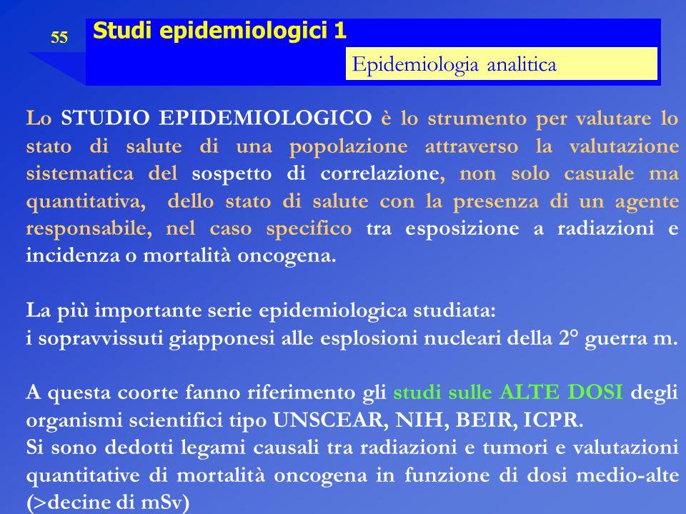 55 Studi epidemiologici 1 Epidemiologia analitica Lo STUDIO EPIDEMIOLOGICO è lo strumento per valutare lo stato di salute di una popolazione attravers
