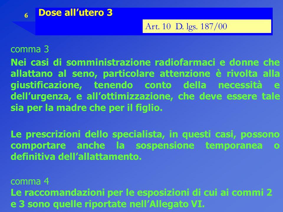 6 Dose all'utero 3 Art. 10 D. lgs. 187/00 comma 3 Nei casi di somministrazione radiofarmaci e donne che allattano al seno, particolare attenzione è ri