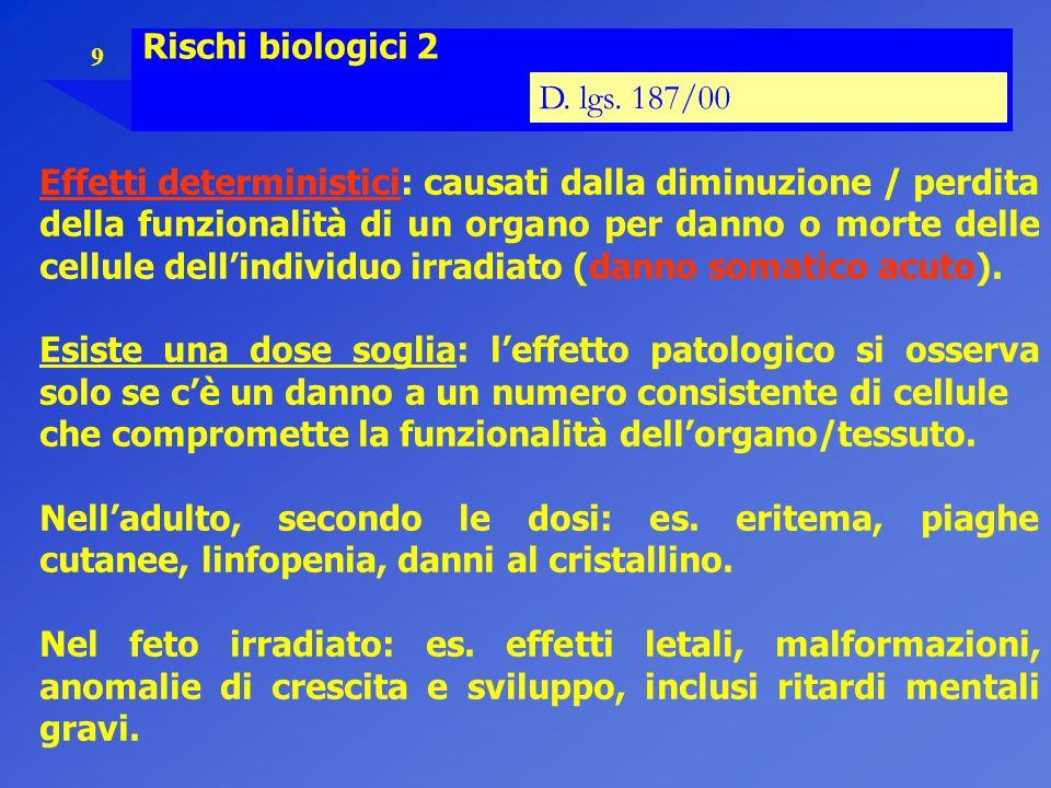 9 Rischi biologici 2 D. lgs. 187/00 Effetti deterministici: causati dalla diminuzione / perdita della funzionalità di un organo per danno o morte dell