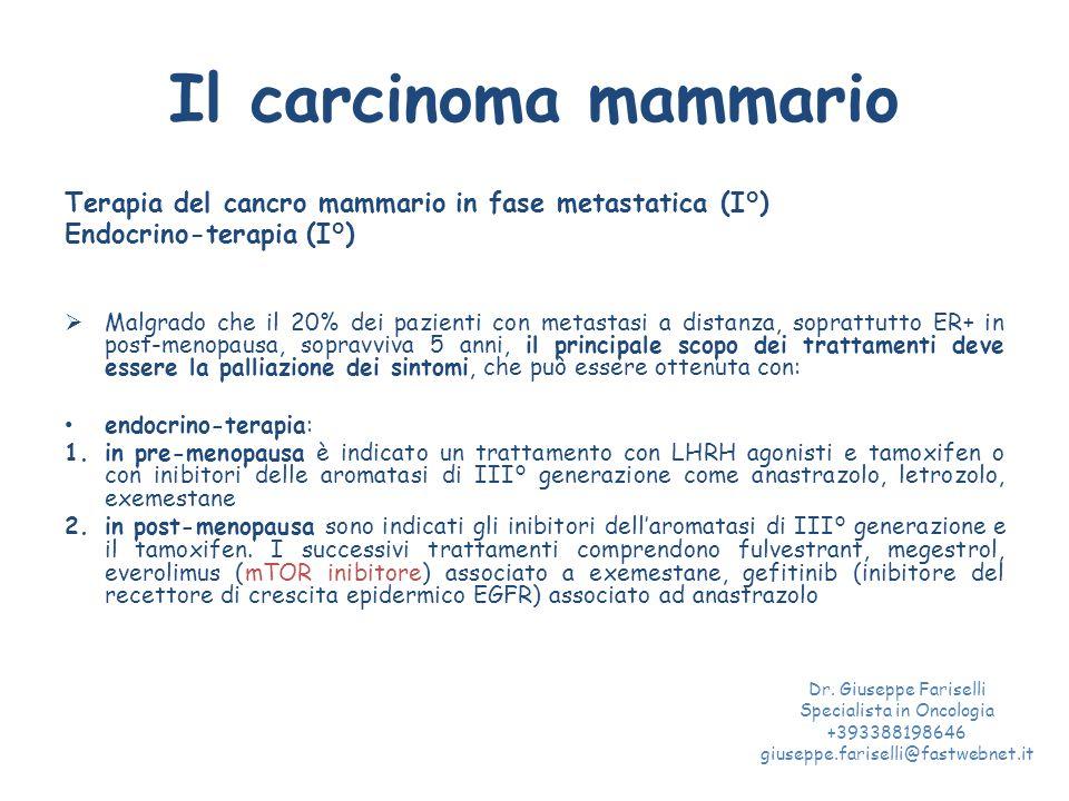 Il carcinoma mammario Terapia del cancro mammario in fase metastatica (I°) Endocrino-terapia (I°)  Malgrado che il 20% dei pazienti con metastasi a d