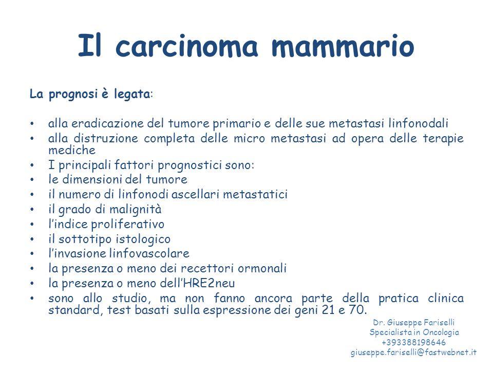 Il carcinoma mammario La prognosi è legata: alla eradicazione del tumore primario e delle sue metastasi linfonodali alla distruzione completa delle micro metastasi ad opera delle terapie mediche I principali fattori prognostici sono: le dimensioni del tumore il numero di linfonodi ascellari metastatici il grado di malignità l'indice proliferativo il sottotipo istologico l'invasione linfovascolare la presenza o meno dei recettori ormonali la presenza o meno dell'HRE2neu sono allo studio, ma non fanno ancora parte della pratica clinica standard, test basati sulla espressione dei geni 21 e 70.