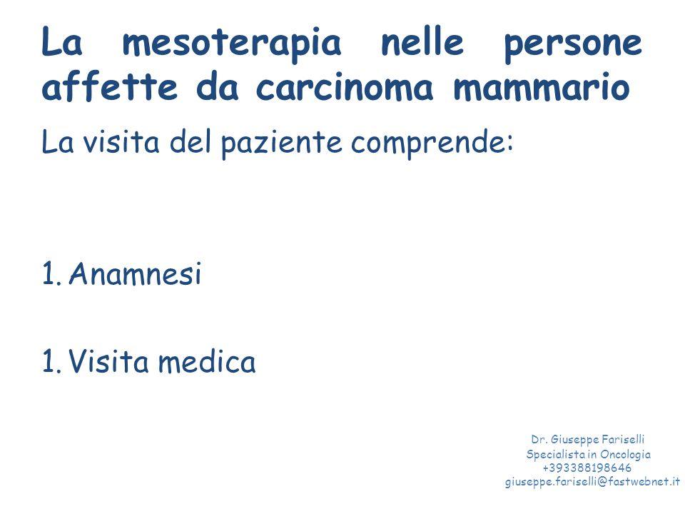 La mesoterapia nelle persone affette da carcinoma mammario La visita del paziente comprende: 1.Anamnesi 1.Visita medica Dr.
