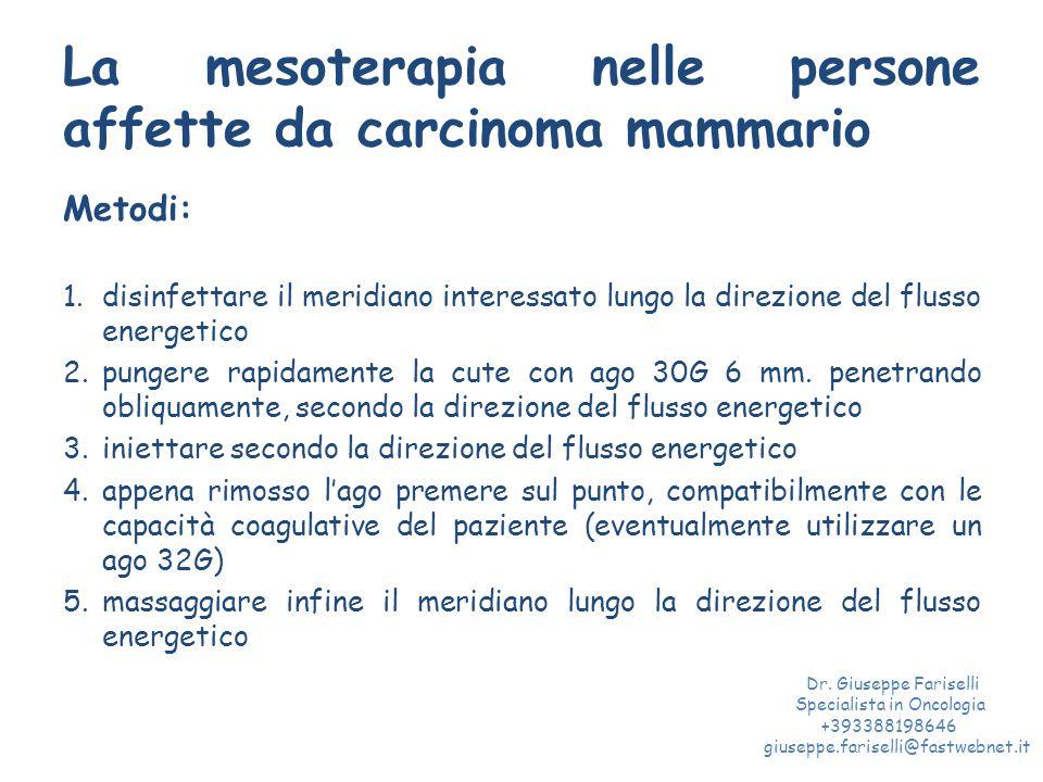 La mesoterapia nelle persone affette da carcinoma mammario Metodi: 1.disinfettare il meridiano interessato lungo la direzione del flusso energetico 2.pungere rapidamente la cute con ago 30G 6 mm.