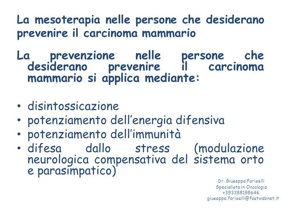 La mesoterapia nelle persone che desiderano prevenire il carcinoma mammario La prevenzione nelle persone che desiderano prevenire il carcinoma mammari