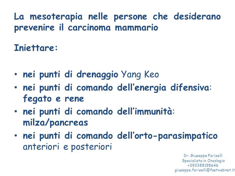 La mesoterapia nelle persone che desiderano prevenire il carcinoma mammario Iniettare: nei punti di drenaggio Yang Keo nei punti di comando dell'energ