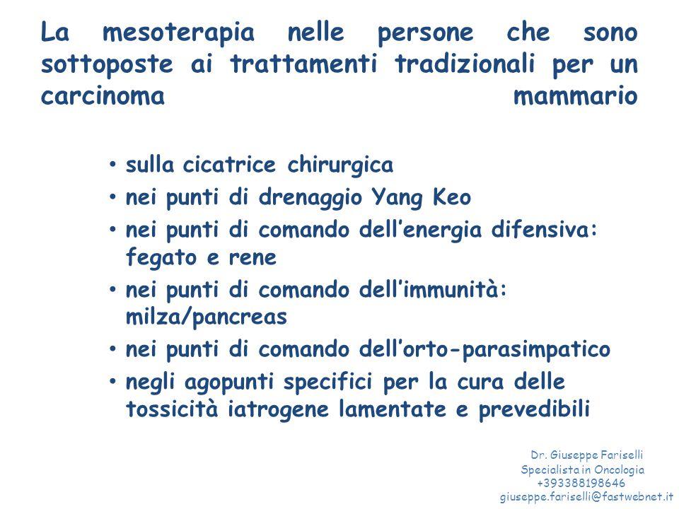 La mesoterapia nelle persone che sono sottoposte ai trattamenti tradizionali per un carcinoma mammario sulla cicatrice chirurgica nei punti di drenagg