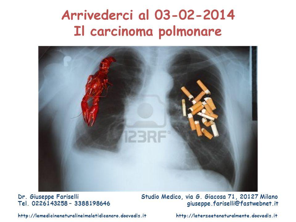 Arrivederci al 03-02-2014 Il carcinoma polmonare Dr. Giuseppe Fariselli Studio Medico, via G. Giacosa 71, 20127 Milano Tel. 0226143258 – 3388198646 gi