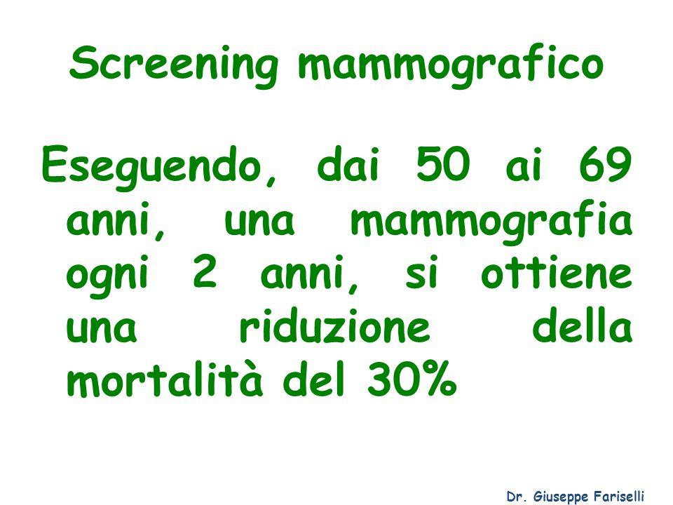 Screening mammografico Eseguendo, dai 50 ai 69 anni, una mammografia ogni 2 anni, si ottiene una riduzione della mortalità del 30% Dr. Giuseppe Farise