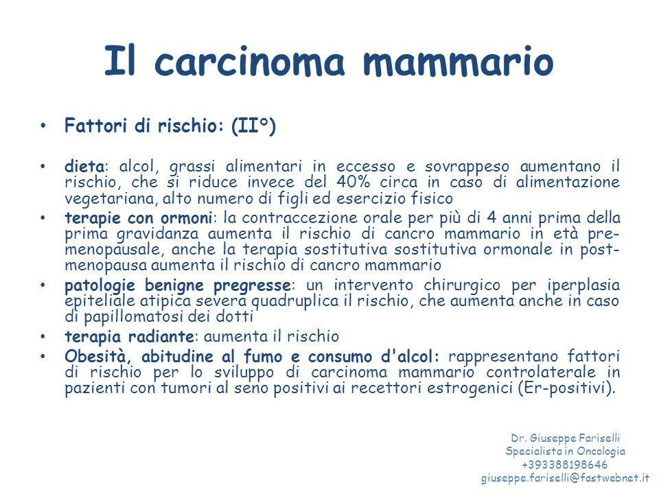 Il carcinoma mammario Fattori di rischio: (II°) dieta: alcol, grassi alimentari in eccesso e sovrappeso aumentano il rischio, che si riduce invece del