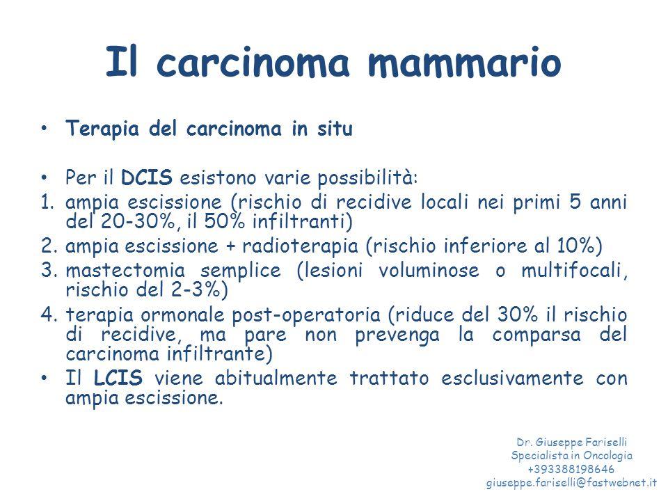 Il carcinoma mammario Terapia del carcinoma in situ Per il DCIS esistono varie possibilità: 1.ampia escissione (rischio di recidive locali nei primi 5 anni del 20-30%, il 50% infiltranti) 2.ampia escissione + radioterapia (rischio inferiore al 10%) 3.mastectomia semplice (lesioni voluminose o multifocali, rischio del 2-3%) 4.terapia ormonale post-operatoria (riduce del 30% il rischio di recidive, ma pare non prevenga la comparsa del carcinoma infiltrante) Il LCIS viene abitualmente trattato esclusivamente con ampia escissione.