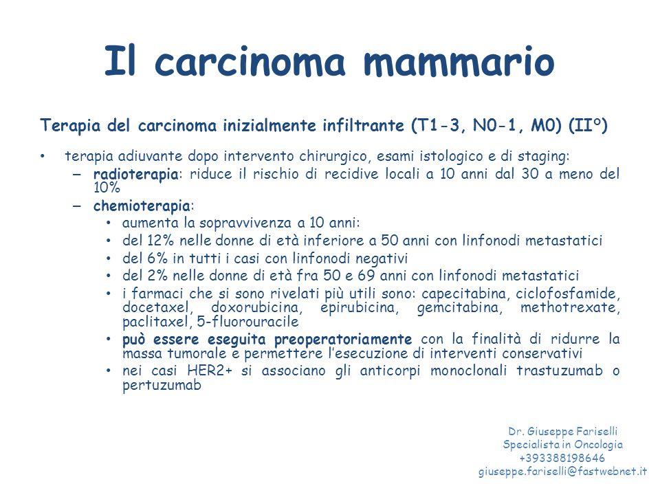 Il carcinoma mammario Terapia del carcinoma inizialmente infiltrante (T1-3, N0-1, M0) (II°) terapia adiuvante dopo intervento chirurgico, esami istologico e di staging: – radioterapia: riduce il rischio di recidive locali a 10 anni dal 30 a meno del 10% – chemioterapia: aumenta la sopravvivenza a 10 anni: del 12% nelle donne di età inferiore a 50 anni con linfonodi metastatici del 6% in tutti i casi con linfonodi negativi del 2% nelle donne di età fra 50 e 69 anni con linfonodi metastatici i farmaci che si sono rivelati più utili sono: capecitabina, ciclofosfamide, docetaxel, doxorubicina, epirubicina, gemcitabina, methotrexate, paclitaxel, 5-fluorouracile può essere eseguita preoperatoriamente con la finalità di ridurre la massa tumorale e permettere l'esecuzione di interventi conservativi nei casi HER2+ si associano gli anticorpi monoclonali trastuzumab o pertuzumab Dr.