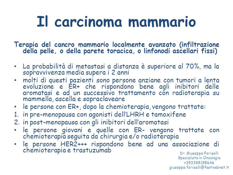 Il carcinoma mammario Terapia del cancro mammario localmente avanzato (infiltrazione della pelle, o della parete toracica, o linfonodi ascellari fissi) La probabilità di metastasi a distanza è superiore al 70%, ma la sopravvivenza media supera i 2 anni molti di questi pazienti sono persone anziane con tumori a lenta evoluzione e ER+ che rispondono bene agli inibitori delle aromatasi e ad un successivo trattamento con radioterapia su mammella, ascella e sopraclaveare le persone con ER+, dopo la chemioterapia, vengono trattate: 1.in pre-menopausa con agonisti dell'LHRH e tamoxifene 2.in post-menopausa con gli inibitori dell'aromatasi le persone giovani e quelle con ER- vengono trattate con chemioterapia seguita da chirurgia e/o radioterapia le persone HER2+++ rispondono bene ad una associazione di chemioterapia e trastuzumab Dr.