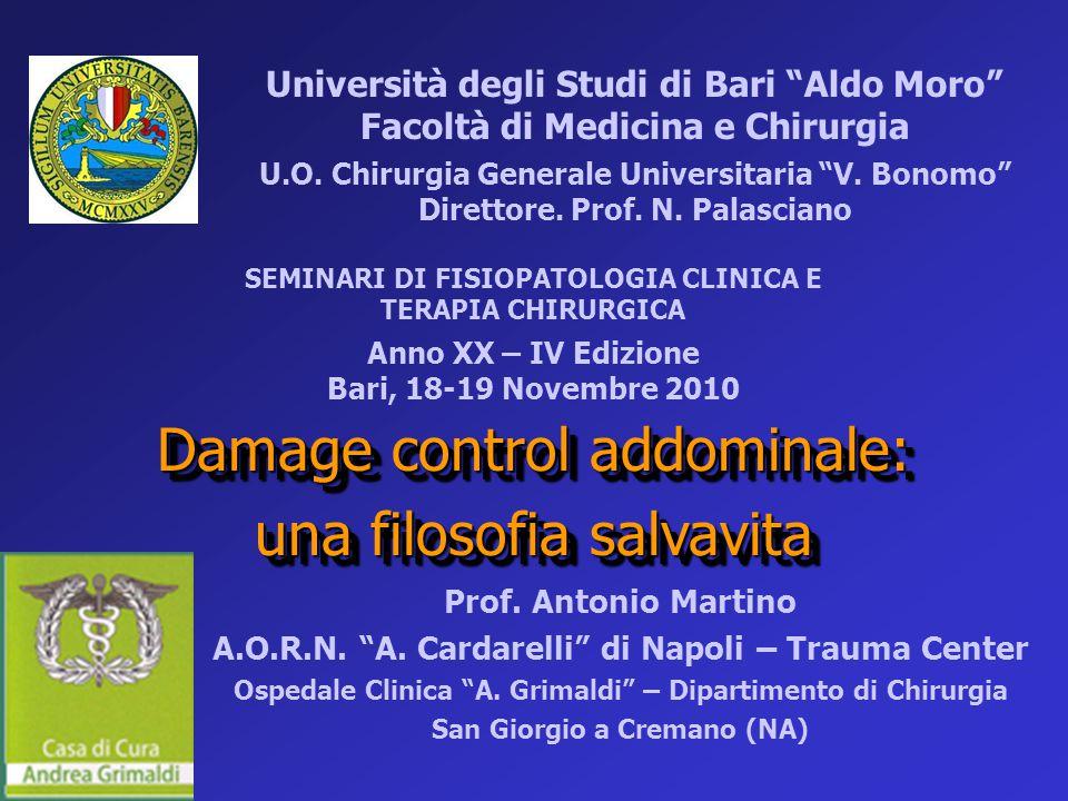 """Damage control addominale: una filosofia salvavita Damage control addominale: una filosofia salvavita Prof. Antonio Martino A.O.R.N. """"A. Cardarelli"""" d"""