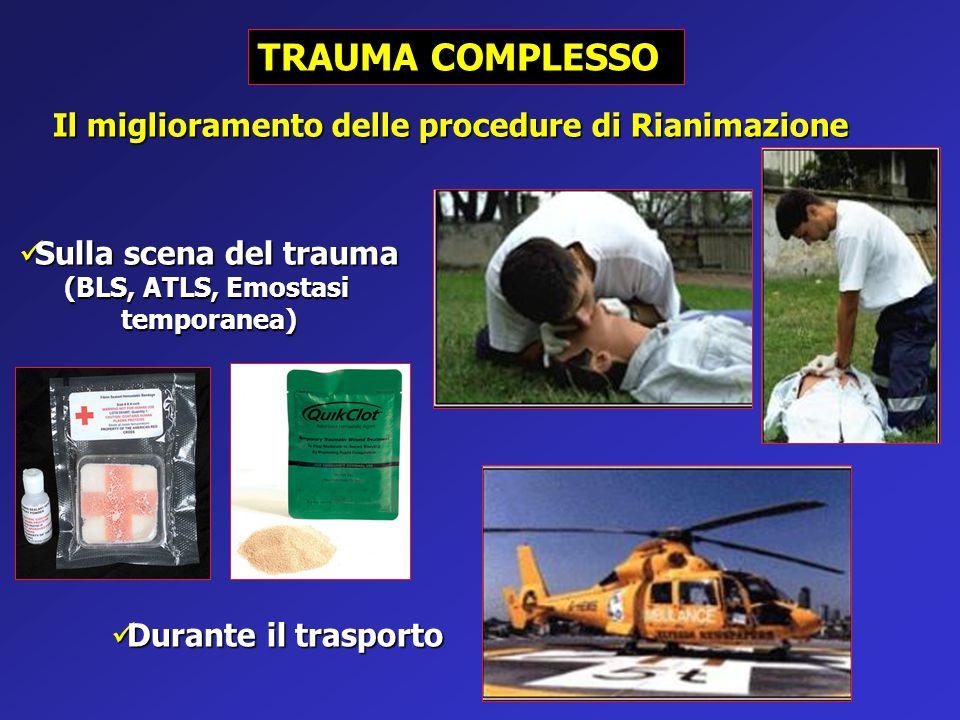 TRAUMA COMPLESSO Sulla scena del trauma Sulla scena del trauma (BLS, ATLS, Emostasi temporanea) Durante il trasporto Durante il trasporto Il miglioram