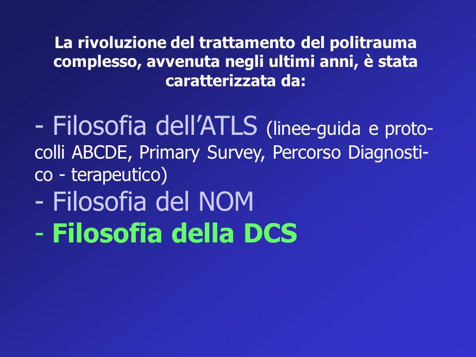 La rivoluzione del trattamento del politrauma complesso, avvenuta negli ultimi anni, è stata caratterizzata da: - Filosofia dell'ATLS (linee-guida e p