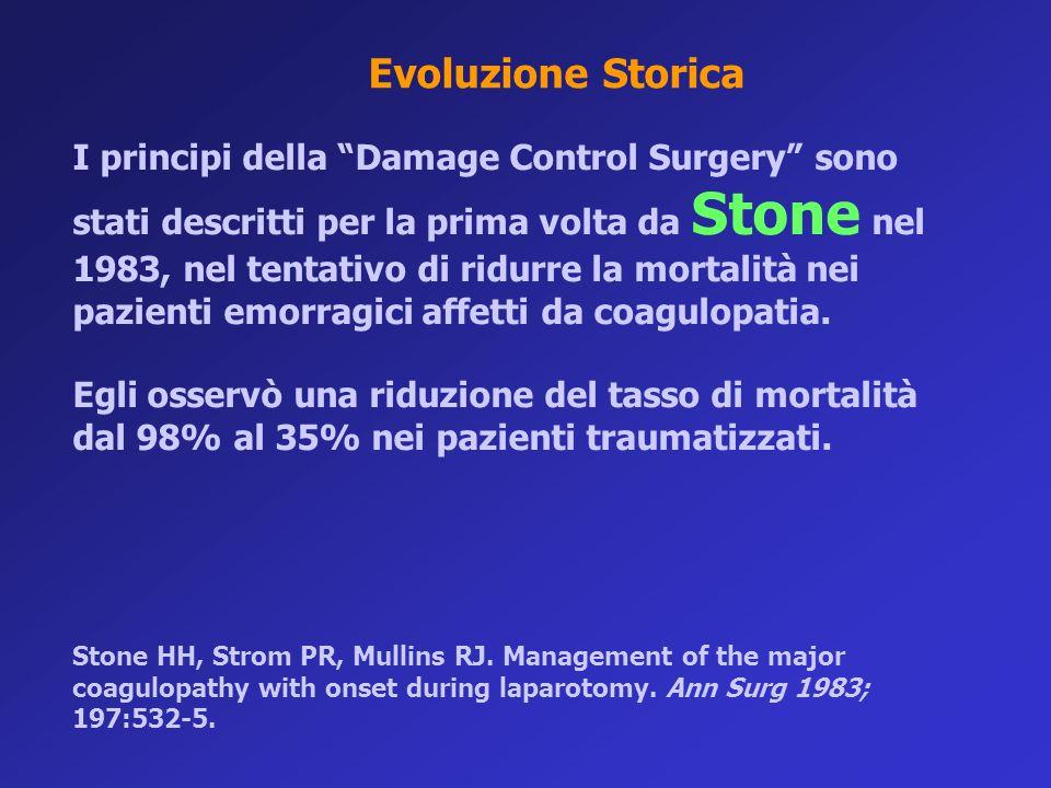 """I principi della """"Damage Control Surgery"""" sono stati descritti per la prima volta da Stone nel 1983, nel tentativo di ridurre la mortalità nei pazient"""
