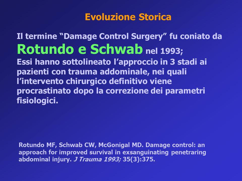 """Il termine """"Damage Control Surgery"""" fu coniato da Rotundo e Schwab nel 1993; Essi hanno sottolineato l'approccio in 3 stadi ai pazienti con trauma add"""