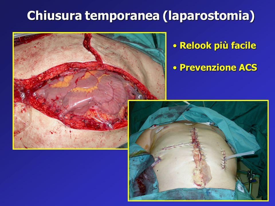 Chiusura temporanea (laparostomia) Relook più facile Relook più facile Prevenzione ACS Prevenzione ACS