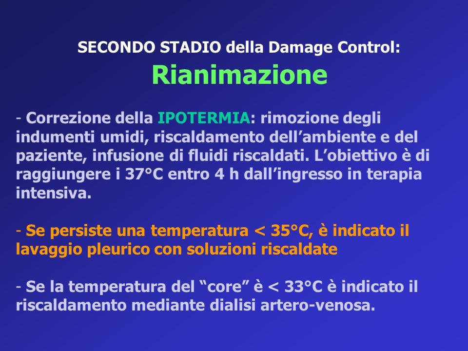 SECONDO STADIO della Damage Control: Rianimazione - Correzione della IPOTERMIA: rimozione degli indumenti umidi, riscaldamento dell'ambiente e del paz