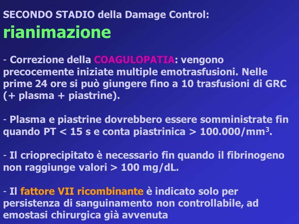 SECONDO STADIO della Damage Control: rianimazione - Correzione della COAGULOPATIA: vengono precocemente iniziate multiple emotrasfusioni. Nelle prime