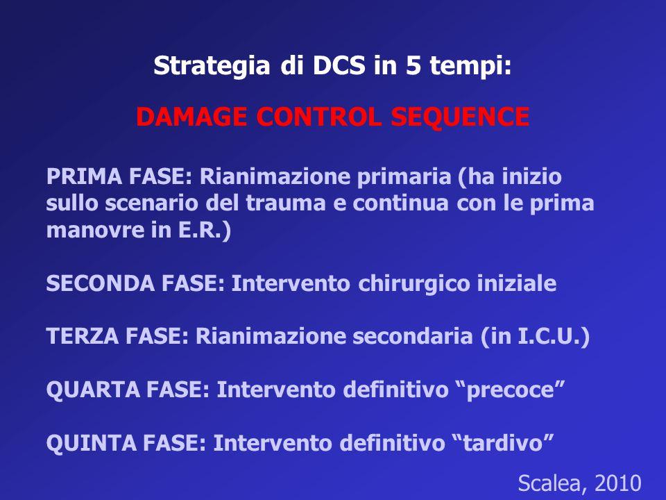 Strategia di DCS in 5 tempi: DAMAGE CONTROL SEQUENCE PRIMA FASE: Rianimazione primaria (ha inizio sullo scenario del trauma e continua con le prima ma