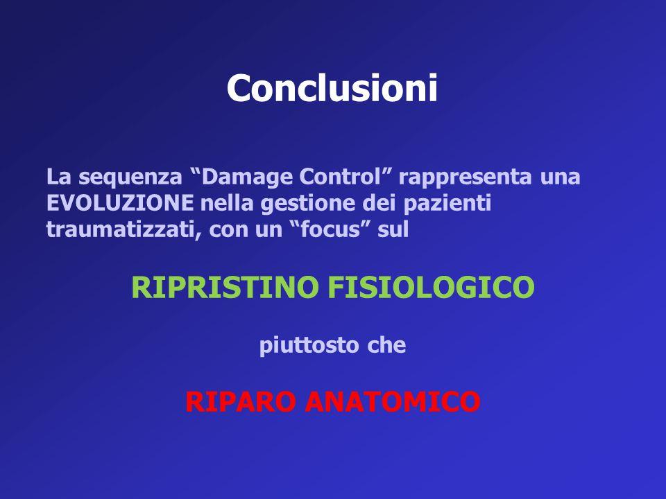 """Conclusioni La sequenza """"Damage Control"""" rappresenta una EVOLUZIONE nella gestione dei pazienti traumatizzati, con un """"focus"""" sul RIPRISTINO FISIOLOGI"""