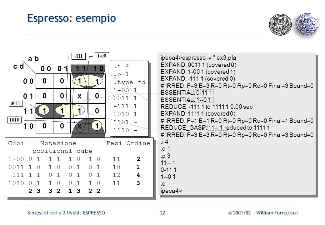 Sintesi di reti a 2 livelli: ESPRESSO© 2001/02 - William Fornaciari- 22 - Espresso: esempio ipeca4>espresso -v ex3.pla EXPAND: 0011 1 (covered 0) EXPAND: 1-00 1 (covered 1) EXPAND: -111 1 (covered 0) # IRRED: F=3 E=3 R=0 Rt=0 Rp=0 Rc=0 Final=3 Bound=0 ESSENTIAL: 0-11 1 ESSENTIAL: 1--0 1 REDUCE: -111 1 to 1111 1 0.00 sec EXPAND: 1111 1 (covered 0) # IRRED: F=1 E=1 R=0 Rt=0 Rp=0 Rc=0 Final=1 Bound=0 REDUCE_GASP: 11-- 1 reduced to 1111 1 # IRRED: F=3 E=3 R=0 Rt=0 Rp=0 Rc=0 Final=3 Bound=0.i 4.o 1.p 3 11-- 1 0-11 1 1--0 1.e ipeca4> ipeca4>espresso -v ex3.pla EXPAND: 0011 1 (covered 0) EXPAND: 1-00 1 (covered 1) EXPAND: -111 1 (covered 0) # IRRED: F=3 E=3 R=0 Rt=0 Rp=0 Rc=0 Final=3 Bound=0 ESSENTIAL: 0-11 1 ESSENTIAL: 1--0 1 REDUCE: -111 1 to 1111 1 0.00 sec EXPAND: 1111 1 (covered 0) # IRRED: F=1 E=1 R=0 Rt=0 Rp=0 Rc=0 Final=1 Bound=0 REDUCE_GASP: 11-- 1 reduced to 1111 1 # IRRED: F=3 E=3 R=0 Rt=0 Rp=0 Rc=0 Final=3 Bound=0.i 4.o 1.p 3 11-- 1 0-11 1 1--0 1.e ipeca4> 001 1 00x0 1110 00x1 0 0 11 1 0 0 0 1 1 1 0 a b c d.i 4.o 1.type fd 1-00 1 0011 1 -111 1 1010 1 1101 - 1110 -.i 4.o 1.type fd 1-00 1 0011 1 -111 1 1010 1 1101 - 1110 - Cubi Notazione Pesi Ordine positional-cube 1-00 0 1 1 1 1 0 1 0 11 2 0011 1 0 1 0 0 1 0 1 10 1 -111 1 1 0 1 0 1 0 1 12 4 1010 0 1 1 0 0 1 1 0 11 3 2 3 3 2 1 3 2 2 Cubi Notazione Pesi Ordine positional-cube 1-00 0 1 1 1 1 0 1 0 11 2 0011 1 0 1 0 0 1 0 1 10 1 -111 1 1 0 1 0 1 0 1 12 4 1010 0 1 1 0 0 1 1 0 11 3 2 3 3 2 1 3 2 2 1-00 -111 0011 1010