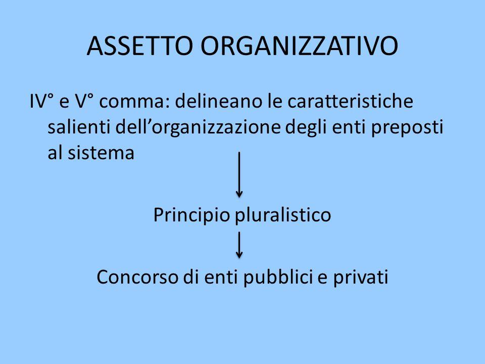 ASSETTO ORGANIZZATIVO IV° e V° comma: delineano le caratteristiche salienti dell'organizzazione degli enti preposti al sistema Principio pluralistico