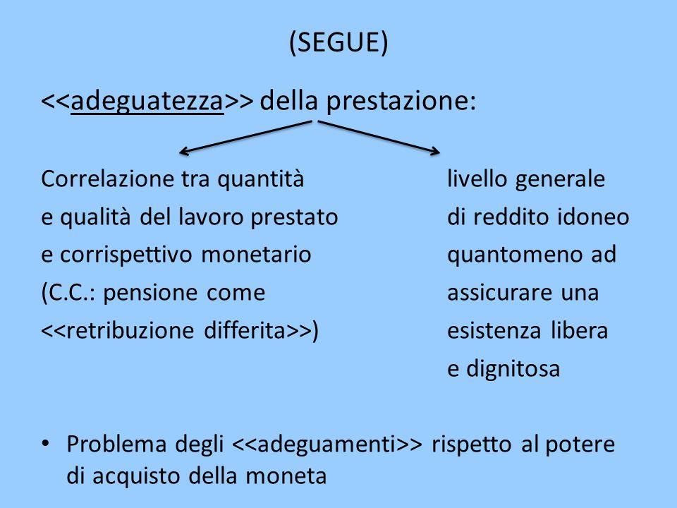 (SEGUE) > della prestazione: Correlazione tra quantitàlivello generale e qualità del lavoro prestato di reddito idoneo e corrispettivo monetarioquanto