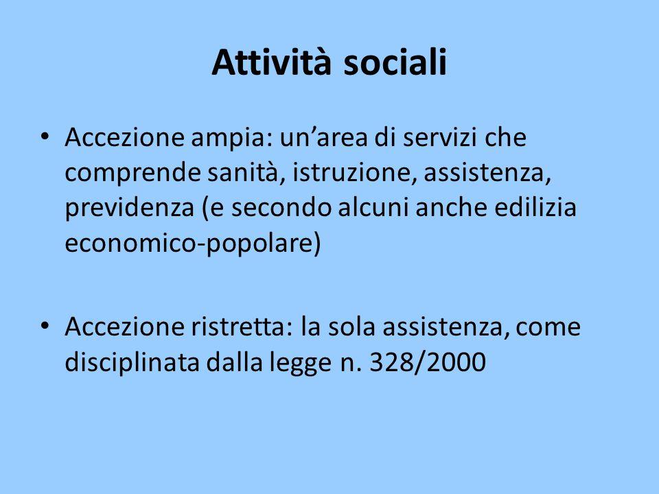 Attività sociali Accezione ampia: un'area di servizi che comprende sanità, istruzione, assistenza, previdenza (e secondo alcuni anche edilizia economi