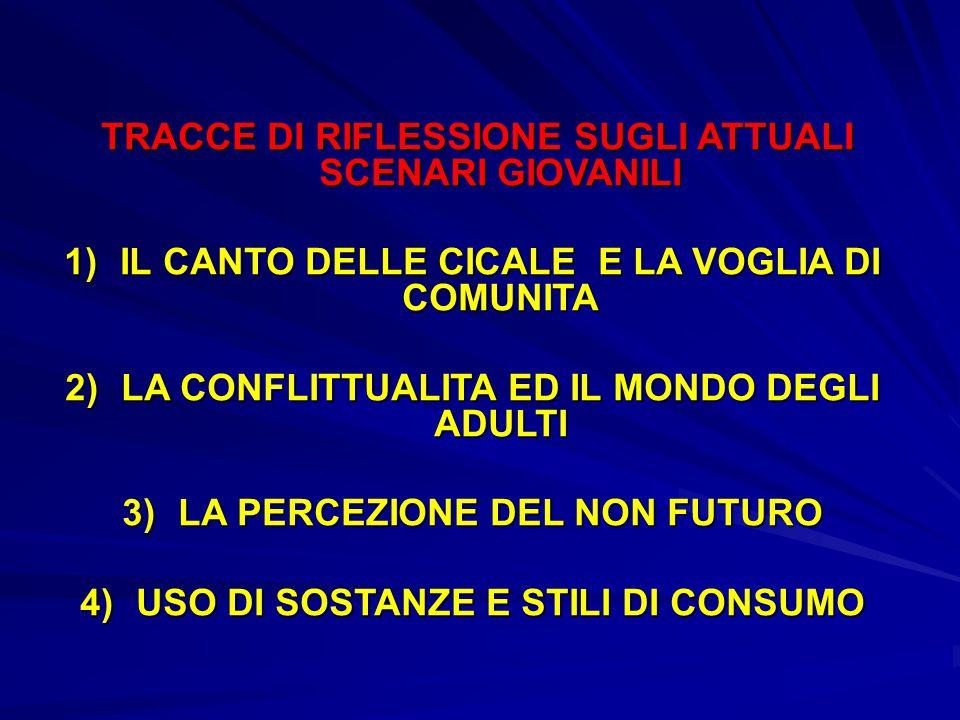 TRACCE DI RIFLESSIONE SUGLI ATTUALI SCENARI GIOVANILI TRACCE DI RIFLESSIONE SUGLI ATTUALI SCENARI GIOVANILI 1)IL CANTO DELLE CICALE E LA VOGLIA DI COMUNITA 2)LA CONFLITTUALITA ED IL MONDO DEGLI ADULTI 3)LA PERCEZIONE DEL NON FUTURO 4)USO DI SOSTANZE E STILI DI CONSUMO