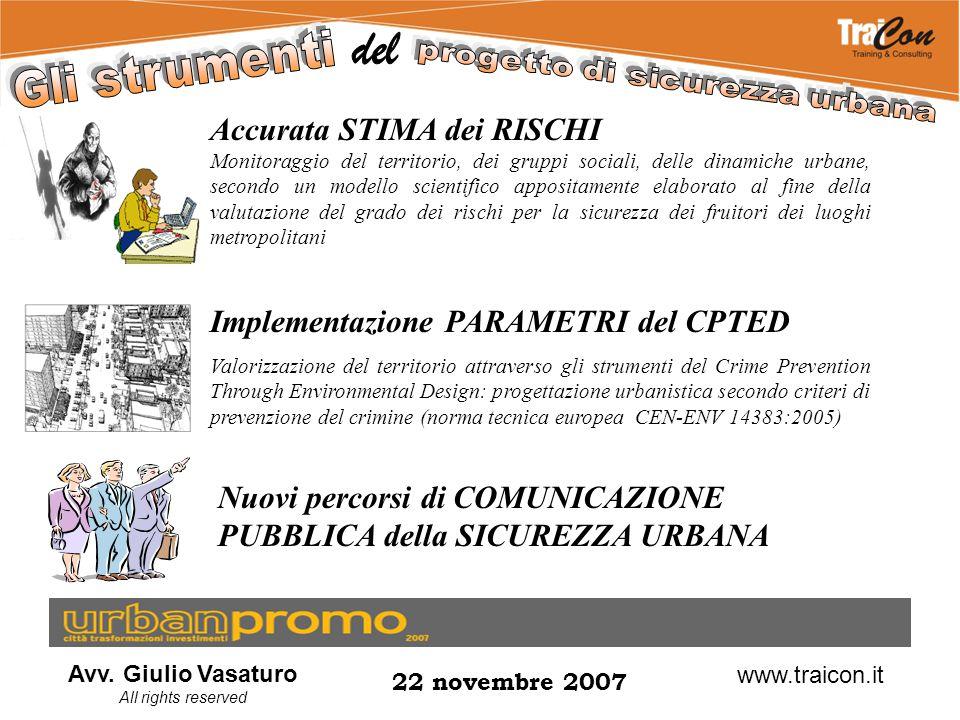 Avv. Giulio Vasaturo All rights reserved 22 novembre 2007 www.traicon.it Accurata STIMA dei RISCHI Monitoraggio del territorio, dei gruppi sociali, de