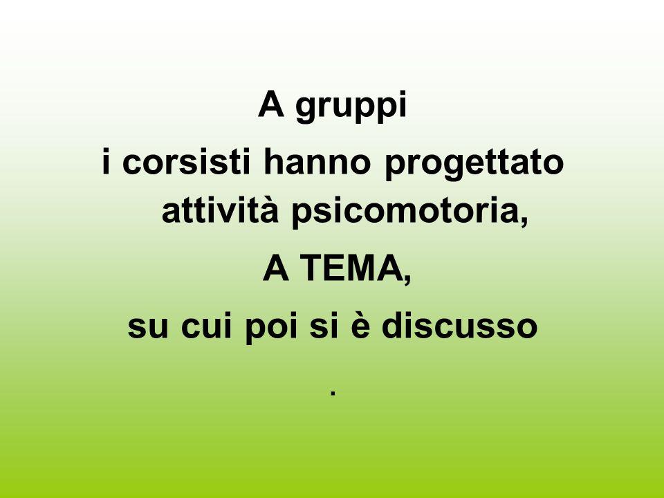 A gruppi i corsisti hanno progettato attività psicomotoria, A TEMA, su cui poi si è discusso.