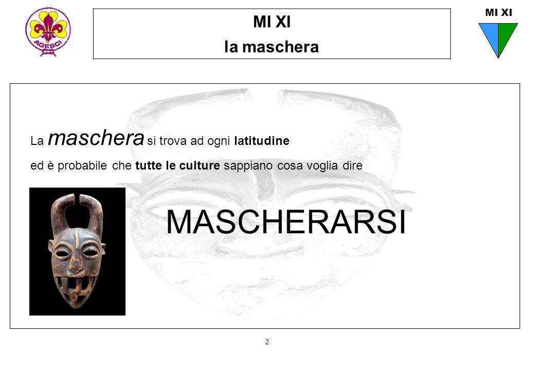 MI XI la maschera 2 MI XI La maschera si trova ad ogni latitudine ed è probabile che tutte le culture sappiano cosa voglia dire MASCHERARSI