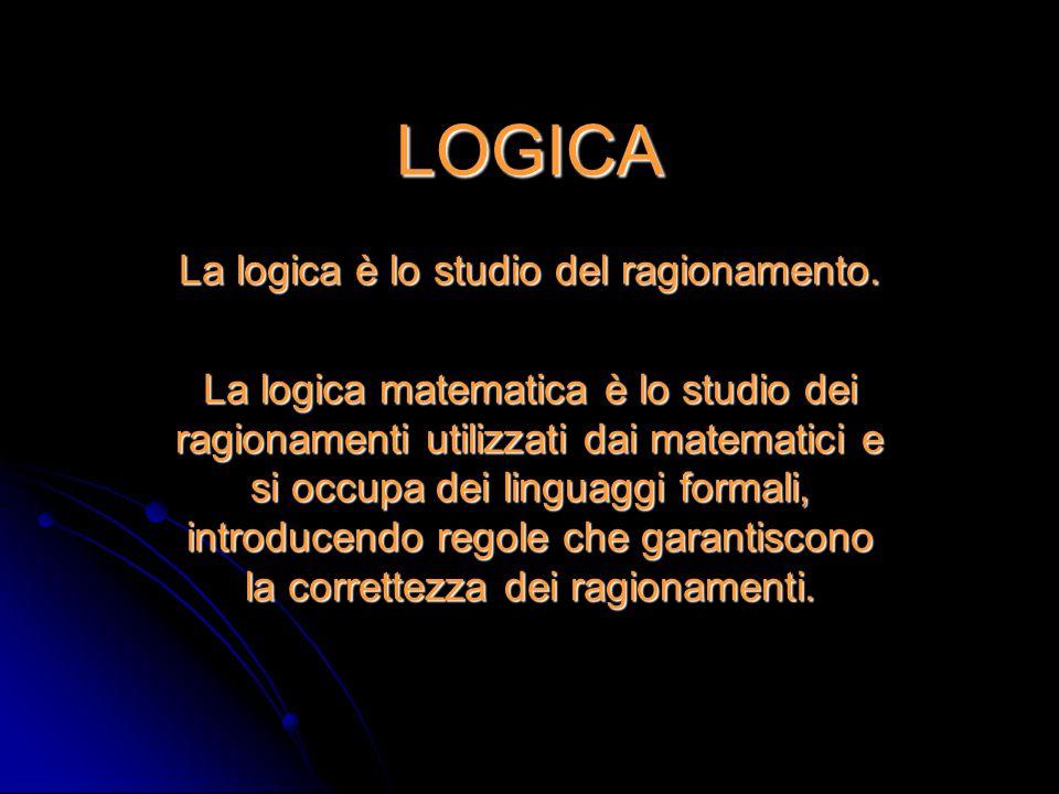 LOGICA La logica è lo studio del ragionamento. La logica matematica è lo studio dei ragionamenti utilizzati dai matematici e si occupa dei linguaggi f
