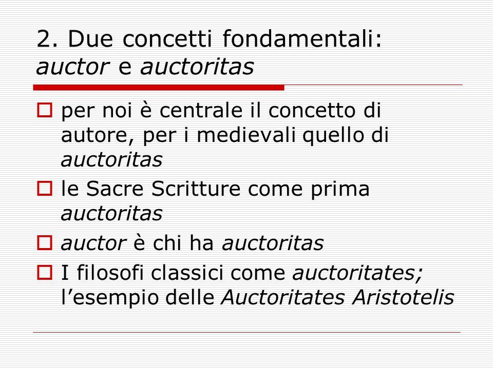 2. Due concetti fondamentali: auctor e auctoritas  per noi è centrale il concetto di autore, per i medievali quello di auctoritas  le Sacre Scrittur