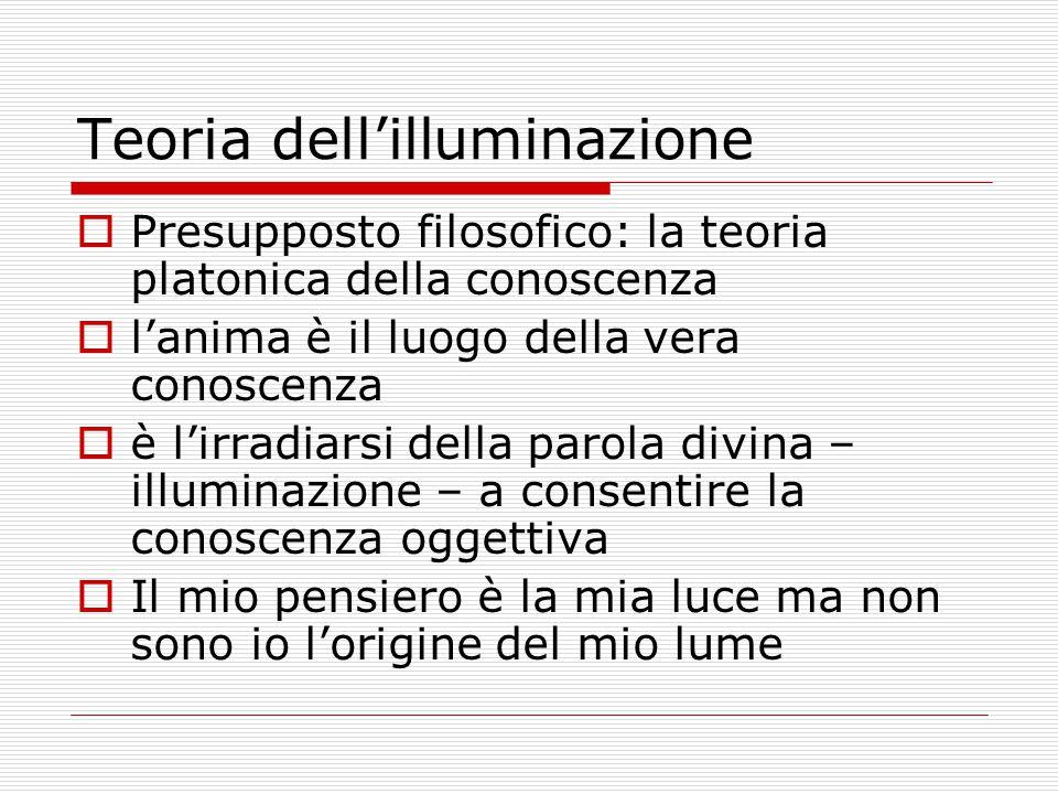 Teoria dell'illuminazione  Presupposto filosofico: la teoria platonica della conoscenza  l'anima è il luogo della vera conoscenza  è l'irradiarsi d