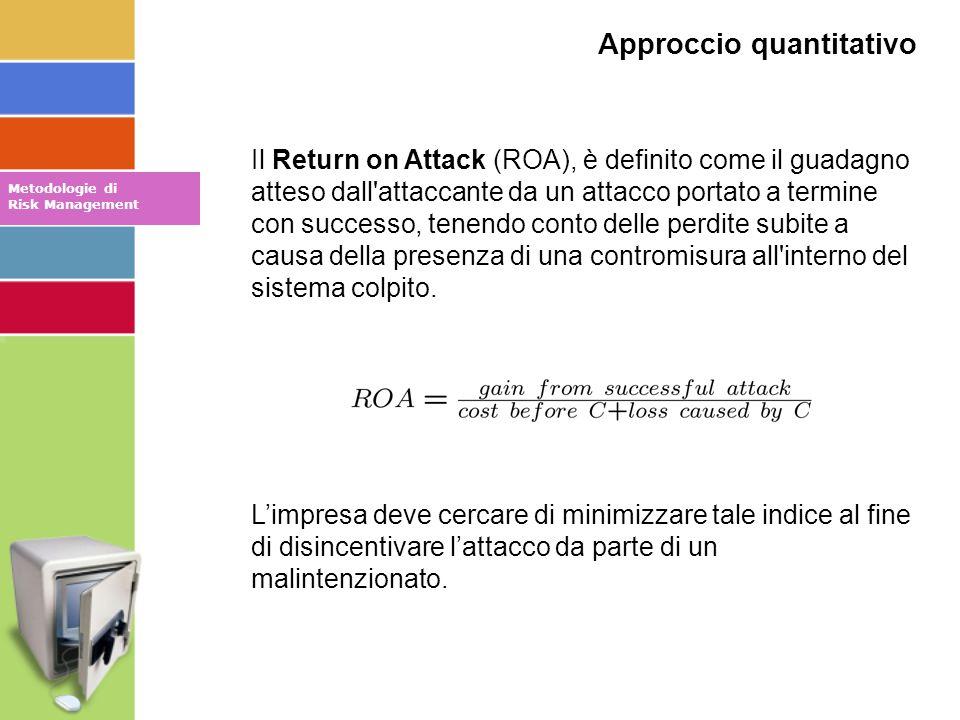 Il Return on Attack (ROA), è definito come il guadagno atteso dall attaccante da un attacco portato a termine con successo, tenendo conto delle perdite subite a causa della presenza di una contromisura all interno del sistema colpito.