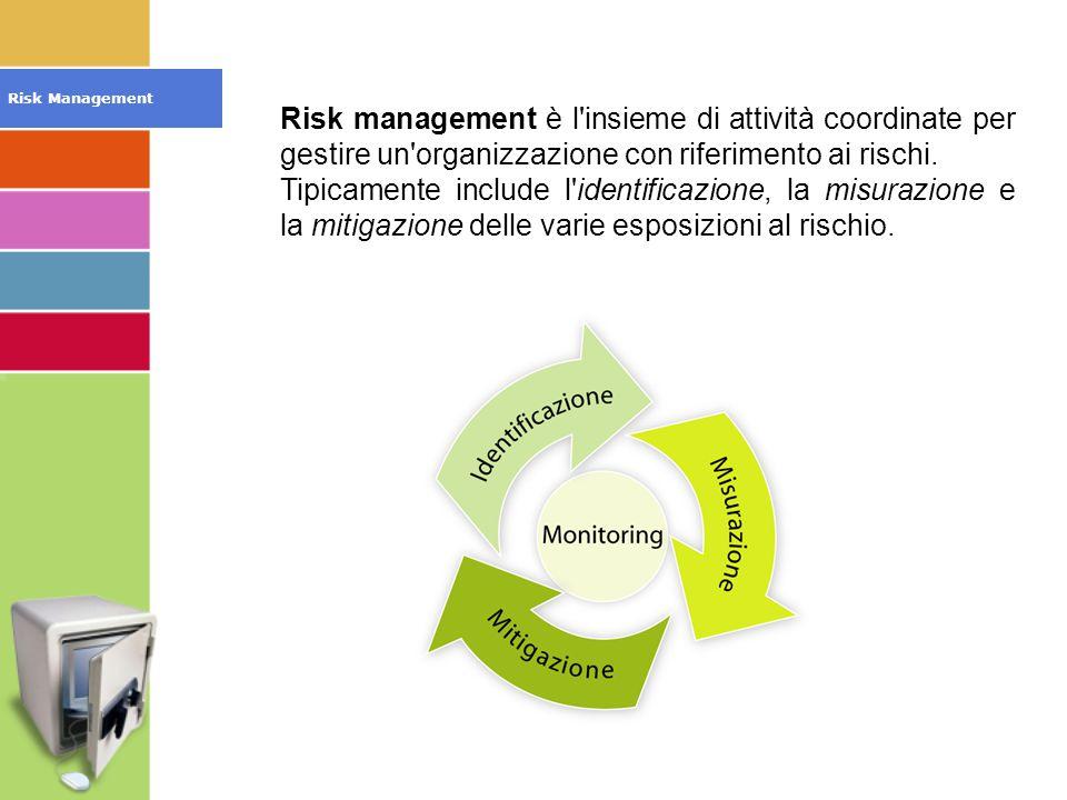 Risk management è l insieme di attività coordinate per gestire un organizzazione con riferimento ai rischi.