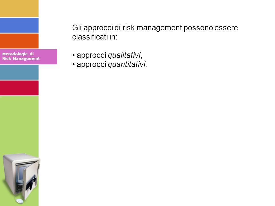 Metodologie di Risk Management Gli approcci di risk management possono essere classificati in: approcci qualitativi, approcci quantitativi.